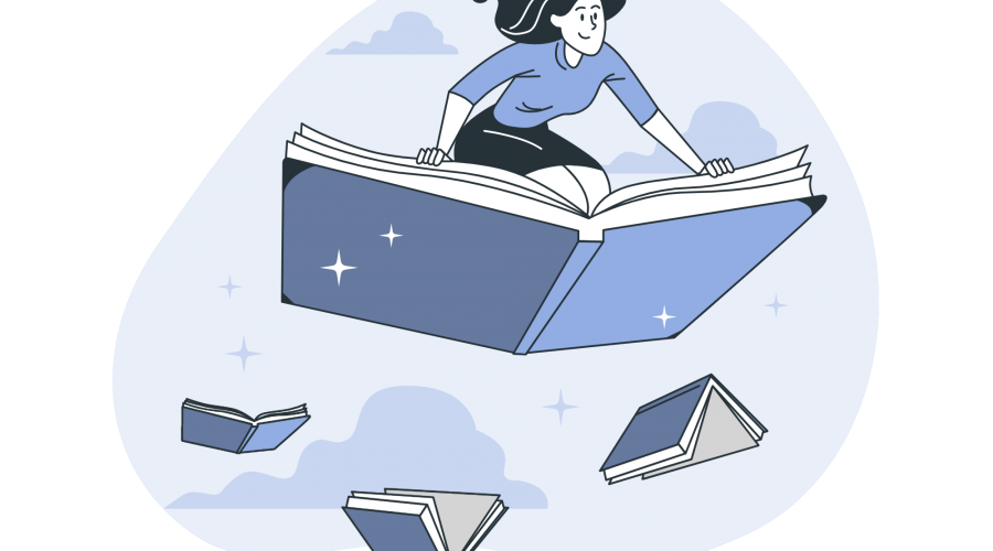 Flying books representing knowledge management